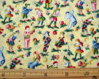 Fat Quarter Playtime Children Boy Girl Pierrot Jester Yellow Red Pink Blue Allover on Yellow Novelty Fabric - Clothworks - OOP