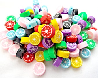 35 Fruit Beads, Fimo Beads, Mixed Color, 11mm Citrus Beads, Fruit Jewelry, Coin Shaped, Polymer Clay Beads,  Jewelry Supplies, UK Seller