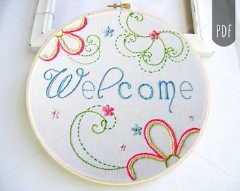 Embroidery Pattern PDF  Welcome Flower Spirals Spring Design