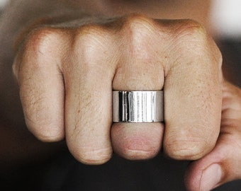 Wide Silver Ring Mens Wedding Band Engraved Rings