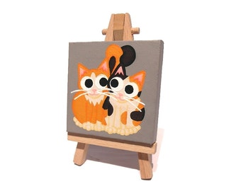 Cats in Love Miniature Painting - original acrylic art of a pair of cute cats. Cartoon artwork on mini canvas with easel