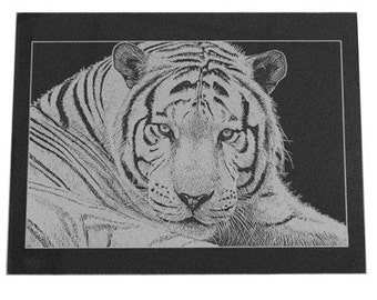 Personalized Black Marble Photo Tile - Laser Engraved