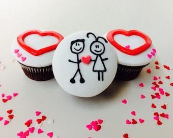 Love Fondant Cupcake Topper Set of 9