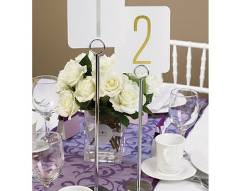 "Table Number Stands | Wedding Reception Table Number Stands 12"" Chrome-Plated Table Number Stands With Double-Ring Clip At Top To Hold Cards"