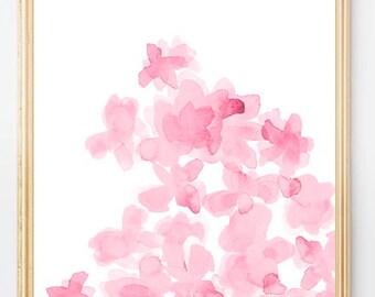 Pink Flower Print, 8x10 Print, Pink Watercolor Painting, Pink Flowers, Pink Nursery Art, Pink Floral Print, Pink Artwork, Pink Girls Print