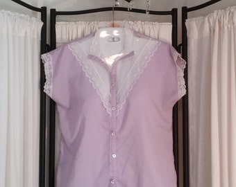Early 1980s Lavender Shirley of Atlanta Button-Up Lace Blouse