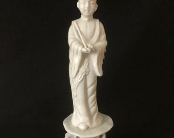 "Chinese White Porcelain Dehua Blanc de Chine Immortal Figurine Statue 10"""