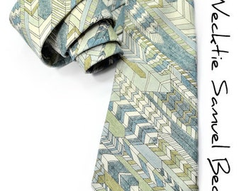 Wedding Mens Necktie Shades of Blue and green arrows tie