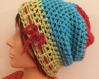 Green Blue Red Crocheted Slouch Hat 37/16