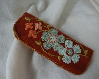 Blue flower reader eyeglass case