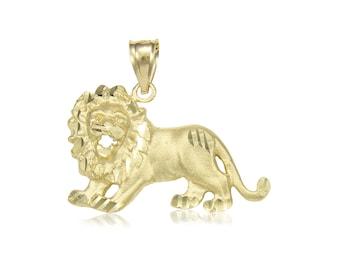 14K Solid Yellow Gold Lion Pendant - Diamond Cut Necklace Charm