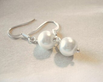 White Ivory Pearl Earrings Silver Pearl Earrings Bridesmaid Earrings Wedding Jewelry