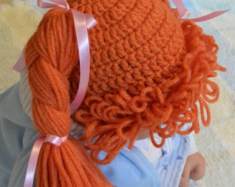 """Ready to ship! Crochet Cabbage Patch Kid hat wig size 1-2 yr old (18"""")"""