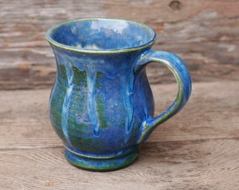 12 oz Mug, Ocean Blue Green Drip Mug, curved Etched base, Blue Green, Natural Patina High Fire Stoneware, Hand Painted, Ready To Ship