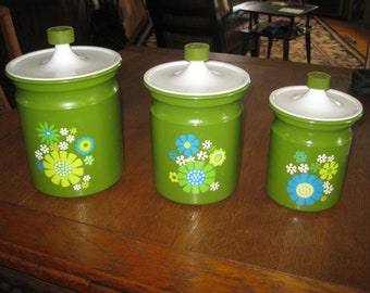 Vintage 1960's Kromex Canister Set  Flower Power Crazy Daisy Look