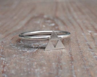 Sterling Silver Zelda Triforce Stacking Ring - Geek, Gamer, Nintendo