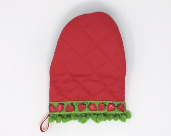 Summer Strawberry Mini Oven Mitt. Red Kitchen Pot Holder With Green Pom Poms and Neoprene Palm. Bridal Shower Baking Gift for Her.