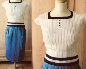 1960s french knit white and blue