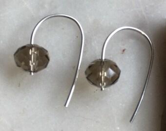 Mini earrings, minimalist earrings, smoky quartz earrings