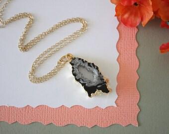 Geode Necklace, Druzy Necklace Gold, BoHo Necklace, Crystal Necklace, Geode Slice, Gold Slice Druzy,GCH18