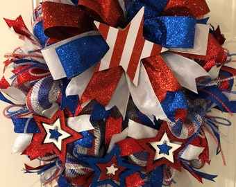 Patriotic Wreath by craftNmaryscreations