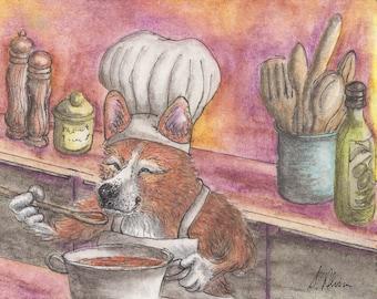 Pembroke Welsh Corgi dog 8x10 art print from Susan Alison watercolor painting testing stew casserole goulash cook chef cooking haute cuisine