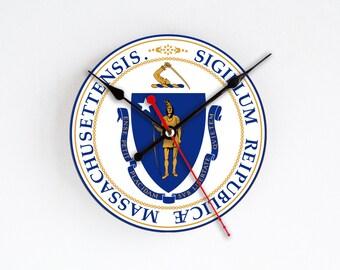 Massachusetts State Wall Clock Orange Blue Wall Decor Home Decor USA States Rare Gift Handmade Clock Gift for Hostess Houseware