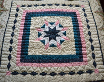 Handmade Quilt, Hand Quilted Blazing Star,  Handmade Lap Quilt, , Quilting
