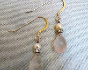 Rose Quartz, CZ, and Pearl Earrings