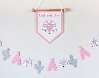 FOX nursery DECOR, feather fox pennant, tribal fox banner, nursery fox, nursery indian, wild and free, room baby fox decoration, baby gift