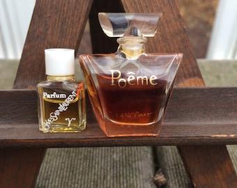 2 Vintage designer YSL and Lancome glass perfume bottles