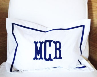 Monogram Applique Boudoir Pillow / Baby Pillow / Sham