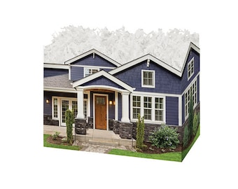 Blue Craftsman Home Theme Gift Box, Decorative Boxes, House Warming Gifts, Realtor Gifts, Wedding Gift Boxes