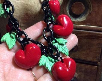 Retro Handmade Cherry Charm Necklace - Resin Pendants Cherries - Vintage Retro 40s 50s Bakelite Inspired - Pin Up Rockabilly VLV Car Culture