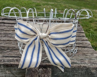 Farmhouse decor, vintage wire basket, french country, wire basket, storage basket, chippy paint decor, basket with bow, round basket, white
