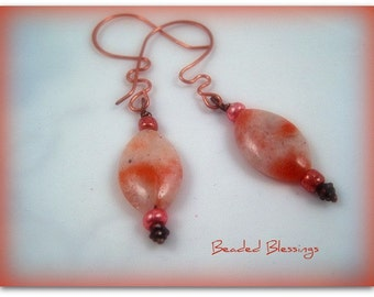 Shiny Happy People Sunstone and Copper Earrrings