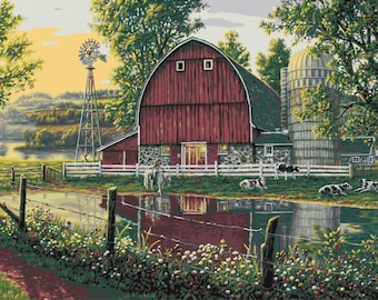 PLAID Paint by Number Kit BARNYARD MEMORIES 20 x 16 inches No Blending Mixing