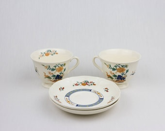 Vintage Wedgwood / 1974-1988 Wedgwood Chinese Teal Cup And Saucer / England Etruria  BARLASTON