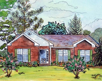 """Custom Wedding Gift, Portrait of newlywed's home, 11"""" x 14"""" Watercolor Custom House Portrait with lots of Pizzazz, Personalized, Artist, art"""