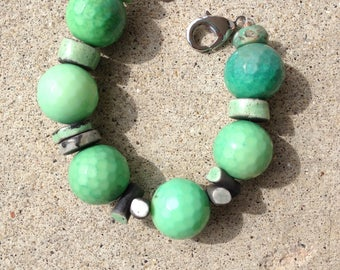 chrysoprase and raku bead bracelet, green, chunky