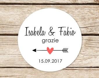 Stickers for Confetti, custom adhesive labels, round Chiudibusta stickers, wedding Sticker