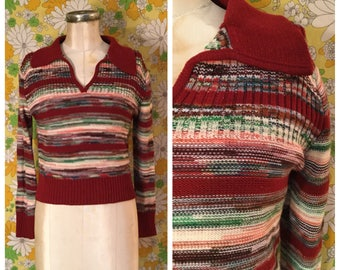 70s Vintage Space Dye Cropped Striped Pullover Sweater Small Medium