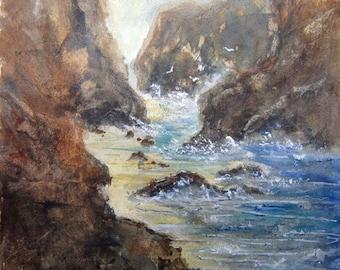 Rocky Shore, Archival Print, seascape painting, watercolor art, nautical print, beach art, beach painting, beach watercolor, misty shoreline