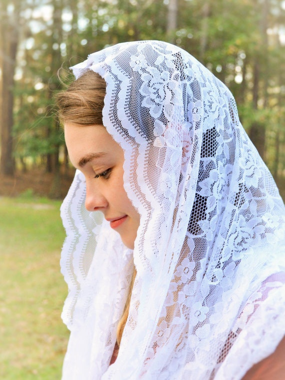 Catholic Soft White Infinity Veil | Catholic Chapel Veil Mantilla Veil for Mass Veil White Chapel Veil Robin Nest Lane Church Veil Catholic