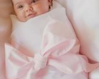 Pink Silk Baby Bow Sash for Swaddled Baby