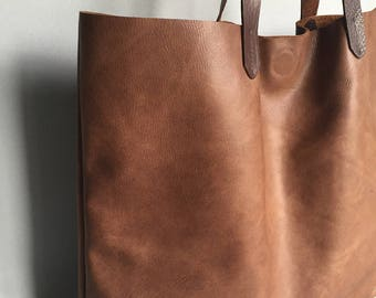 Soft brown leather tote, summer leather shoulder bag, brown leather handbag, brown leather shopper, tan leather mum bag, brown leather