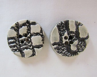 Medium Size Round Black and White Textured Pottery Button Handmade Pottery