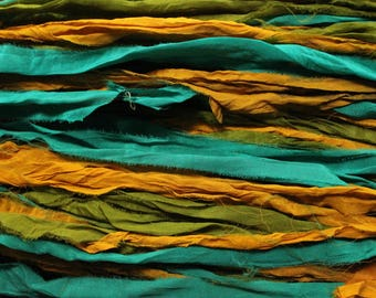 Sari Silk, Vintage Vanity4, Per 5 Yards, New Recycled Sari Silk, Fair Trade, Textile, Ribbon, Silk Sari, Multicolored, ArtWear Elements, 204