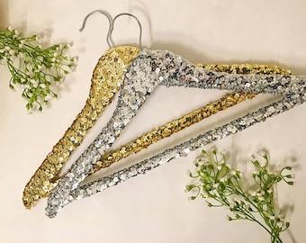 Adult Silver Sequin Hanger/Wedding Dress Hanger/Bridal Hanger/Bridesmaid Hanger/Dress Hanger/Sparkle