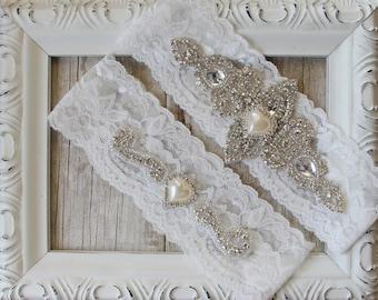 "Garter Set - wedding garters - Custom Bridal Garters with ""Pearls"" and Rhinestones on Comfortable Lace, wedding garter set, wedding"